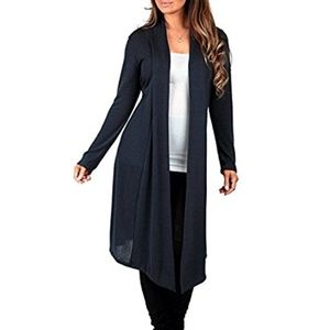 Knee Length Draped Hacci Cardigan Rags & Couture